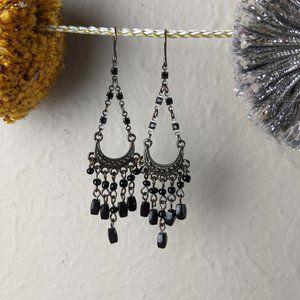 Black Tear Drop Chandelier Earrings